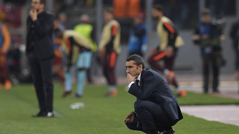 FC Barcelona og Ernesto Valverde blev sendt ud af Champions League tirsdag aften. Foto: Scanpix/Lluis Gene