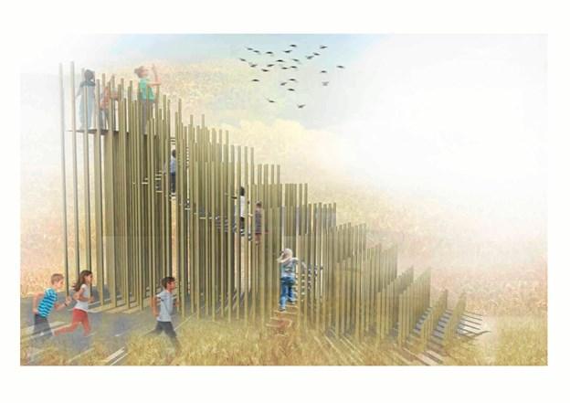 - Kornets Have - illustration fra skitseforslag, arkitekt MAA Tinna Engqvist