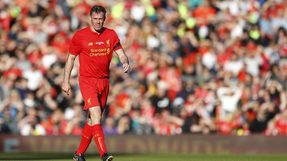Liverpool-legenden Jamie Carragher har fået problemer efter en spytteepisode. Foto: Reuters/Carl Recine