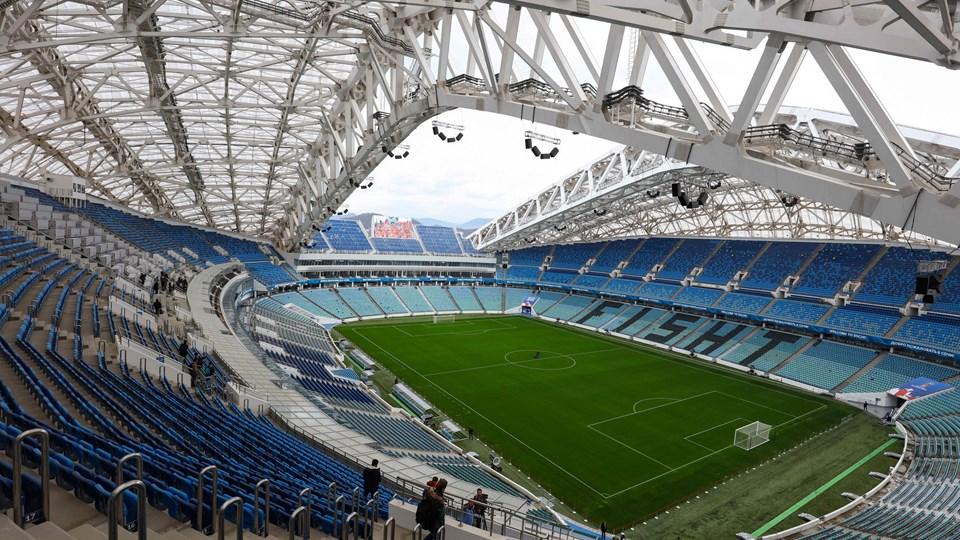 På Fisht Stadium i Sotji ligger en af de VM-baner, som DLF har leveret græsfrø til. Foto: Scanpix/Vitaly Timkiv