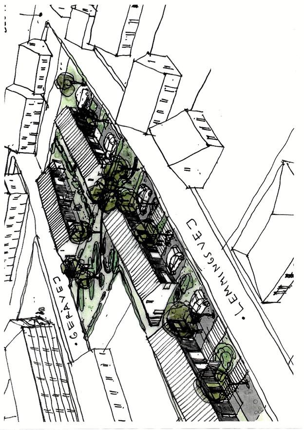 Denne perspektivskitse illustrerer muligheden for indplacering af de fire rækkehuse med hver to boliger. Boligerne må siges at være godt integreret i Boligselskabet Østvendsyssels egen grund. Foto: Privatskitse