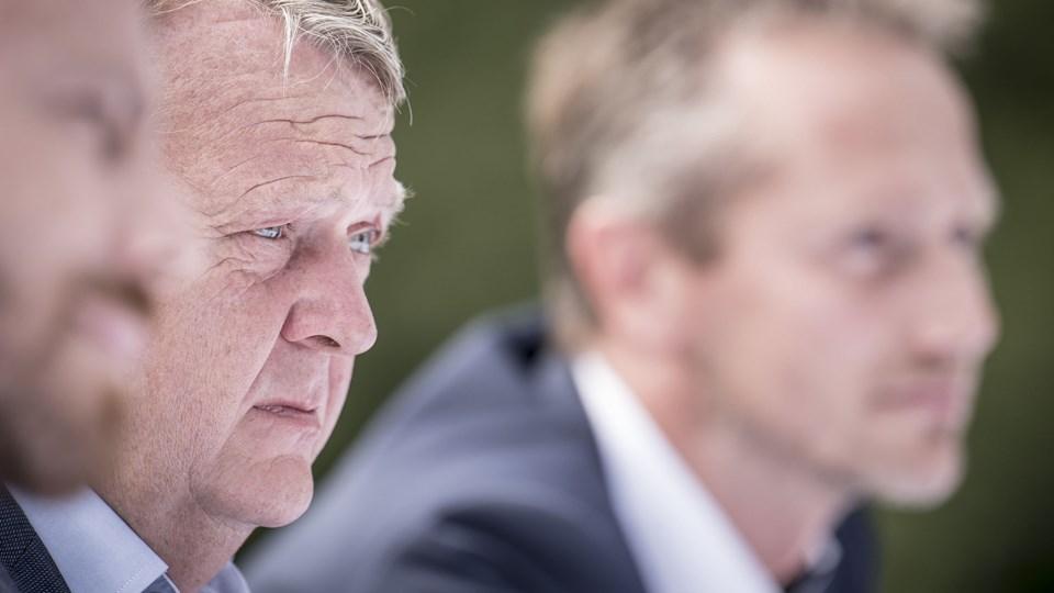 Lars Løkke Rasmussen under et pressemøde i forbindelse med Venstres sommergruppemøde på Kragerup Gods ved Ruds Vedby. (Arkivfoto).