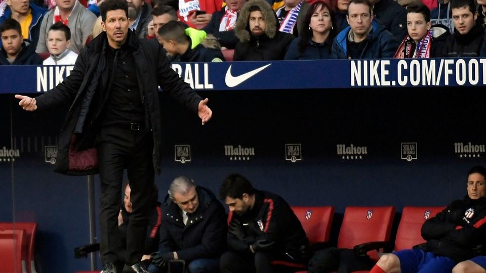 Atletico Madrid-træner Diego Simeone forventes at spare flere af profilerne i torsdagens Europa League-opgør hjemme mod FC København. Foto: Scanpix/Gabriel Bouys
