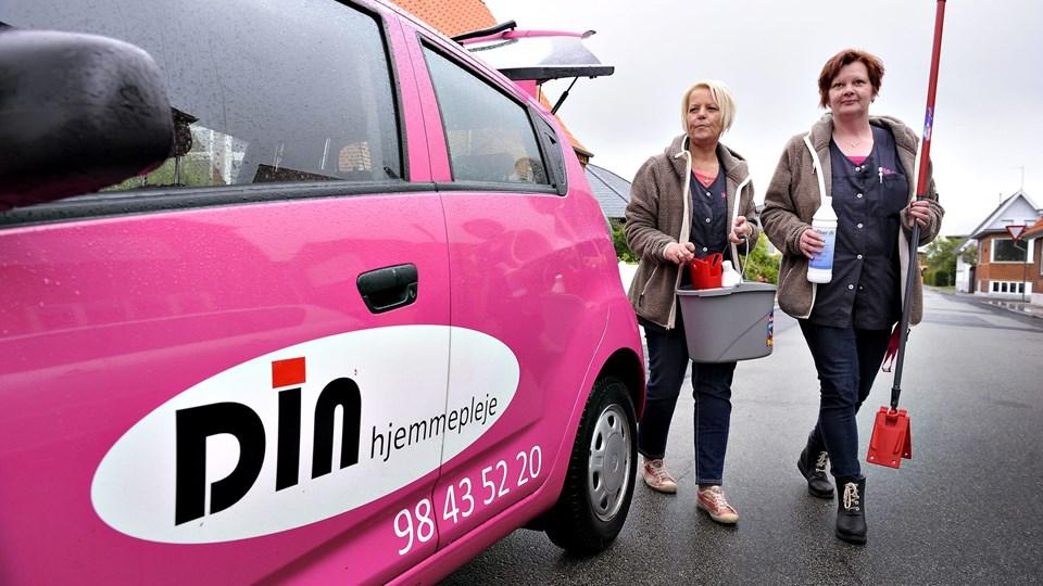 Din Hjemmepleje med Dorte Simonsen (tv.) i spidsen blev ikke en af de udvalgte firmaer, som fremover skal varetage hjemmeplejen i Frederikshavn Kommune   Foto: Bent Bach