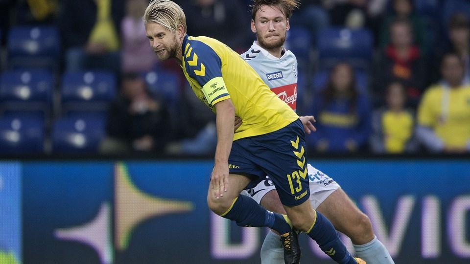 """Christian """"Greko"""" Jakobsen og andre Sønderjyske-spillere er blevet afhørt af DIF's Matchfixing-sekretariat før pokalkampen torsdag aften mod Brøndby. Foto: Scanpix/Liselotte Sabroe"""