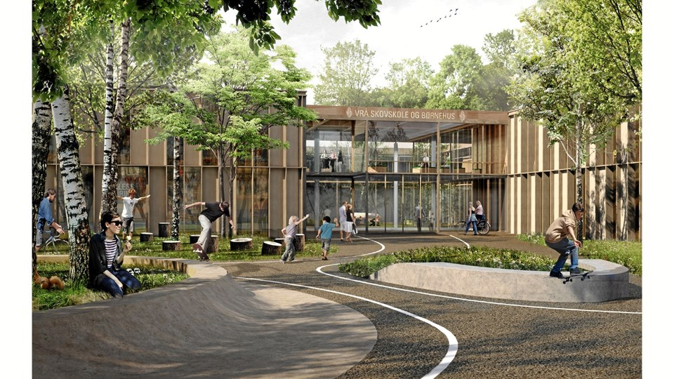 Sådan kommer den ny Vrå Skole til at tage sig ud - første spadestik tages til april. Illustration: AART architects, JAJA architects og rådgivende ingeniører Jørgen Jensen