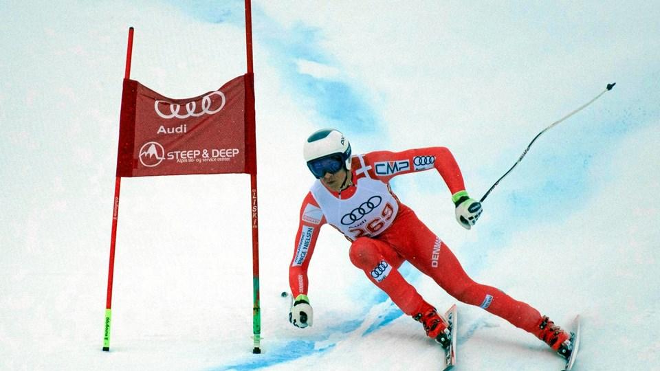 Christoffer Faarup på vej mod sejren i super-G. Foto: Danmarks Skiforbund