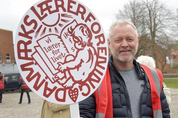 - Lærerne i Frederikshavn Kommune bliver også berørt af en storkonflikt, selv om vi ikke er udtaget til at strejke, siger Mads Christensen, DLF Frederikshavn.  Foto: Bente Poder