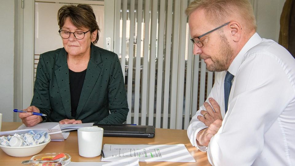 Der var ikke så meget at smile af for Venstres Hanne Haldrup og Hans Ejner Bertelsen, da budgettet blev præsenteret i sidste uge. Men selskabsskatten er en solstråle.  Foto: Peter Mørk