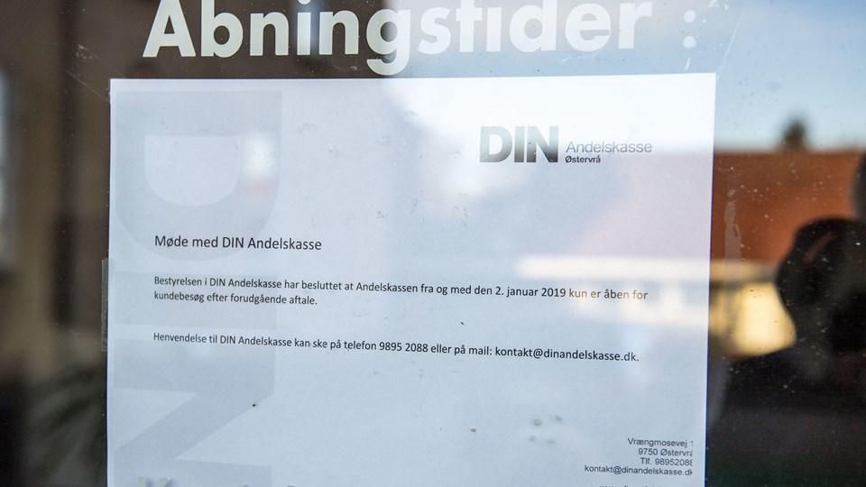 Den åbne dør er erstattet af denne seddel. Foto: Kim Dahl Hansen