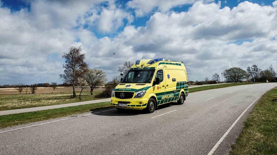En kvinde blev bragt til Odense Universitetshospital efter et uheld på Sønderjyske Motorvej. I første omgang forlød det, at hun var alvorligt kvæstet, men det viste sig ikke at være tilfældet. Foto: Pressefoto, Falck/Free