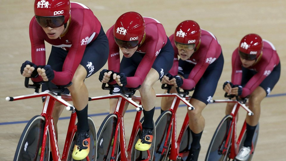 Det danske banehold i 4000 meter holdforfølgelse endte med VM-sølv efter et nederlag til Storbritannien i torsdagens finale. Foto: Reuters/Eric Gaillard / Arkiv