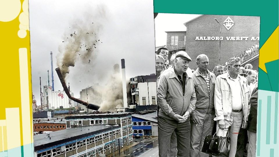 Til venstre: Skorstenen på Nordkraft sprænges. Til højre: Værftsarbejdere overværer den sidste søsætning på Aalborg Værft. Fotos: Torben Hansen, Grete Dahl. Illustration.
