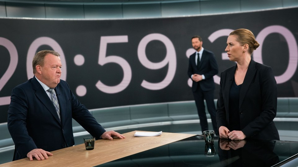 Lars Løkke Rasmussen og Mette Frederiksen holdt noget så sjældent som en statsministerkandidatdebat i fredstid søndag den 31. marts i år. Det anser flere for at være et reelt startskud på valgkampen. Foto: Bjarne Bergius Hermansen/DR/Ritzau Scanpix