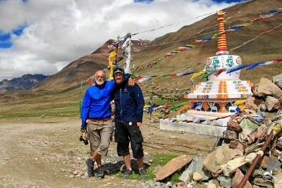 Poul og Tore Grønne Kristensen på tur i Himalaya.  Privatfoto