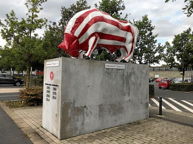 Den markante og iøjnefaldende rød-hvide AaB-tyr venter nu spændt på at få monteret en billed-mosaik i et logo på soklen bestående af flere hundrede portrætfotos af sæsonkortholdere. Foto: Torben O. Andersen