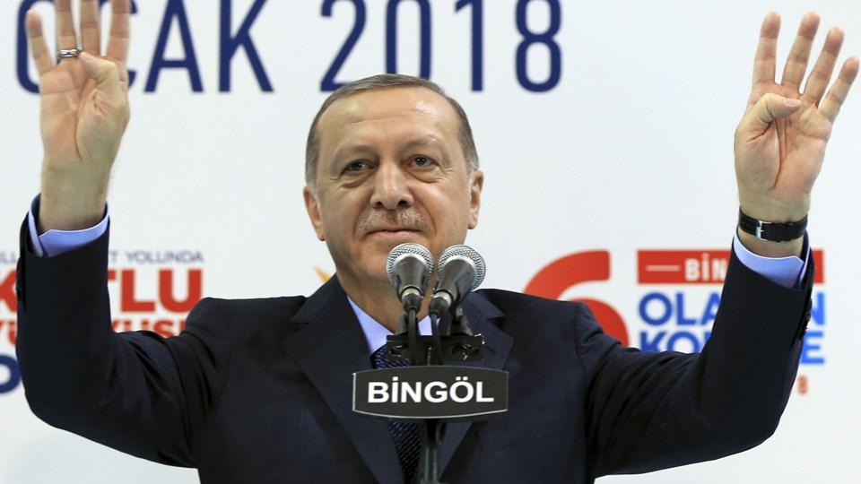 Tyrkiets præsident, Recep Tayyip Erdogan, advarer om, at tyrkisk militær i de kommende dage måske vil angribe kurdiske stillinger i området Afrin i nabolandet Syrien. Foto: Scanpix/Bingol
