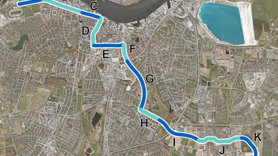 BRT-forbindelsen er opdelt i 11 delstrækninger, hvoraf de 10 er omfattet af forslaget til en lokalplan.