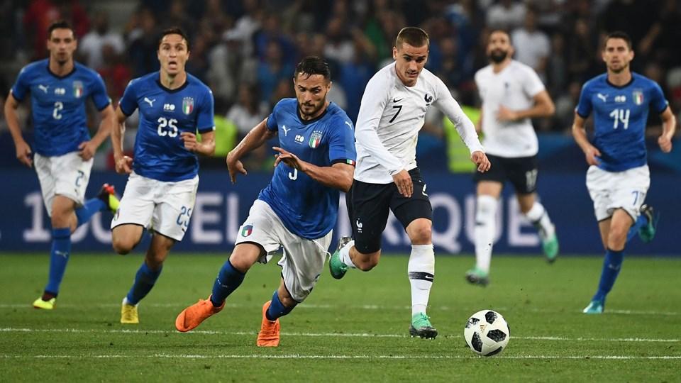 Antoine Griezmann scorede Frankrigs andet mål mod Italien fra 11-meter-pletten. Foto: Franck Fife/Ritzau Scanpix