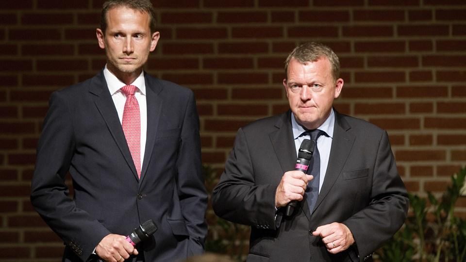 Efter formandsopgøret i juni 2014 blev Kristian Jensen og Lars Løkke Rasmussen præsenteret som et makkerpar i spidsen af partiet. Foto: Nils Meilvang / Ritzau Scanpix