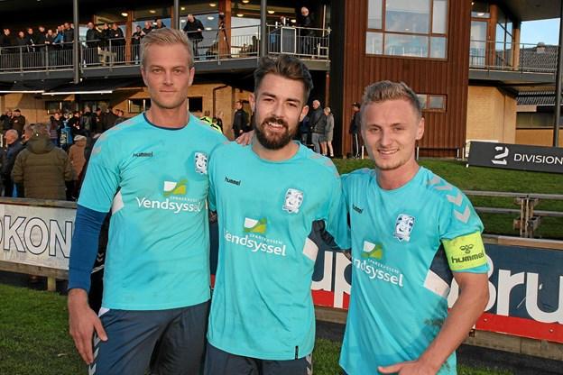Jammerbugt FC´s tre målscorer, Morten U. Thomsen, Viktor Ahlmann og anfører Christian Rye. Foto: Flemming Dahl Jensen