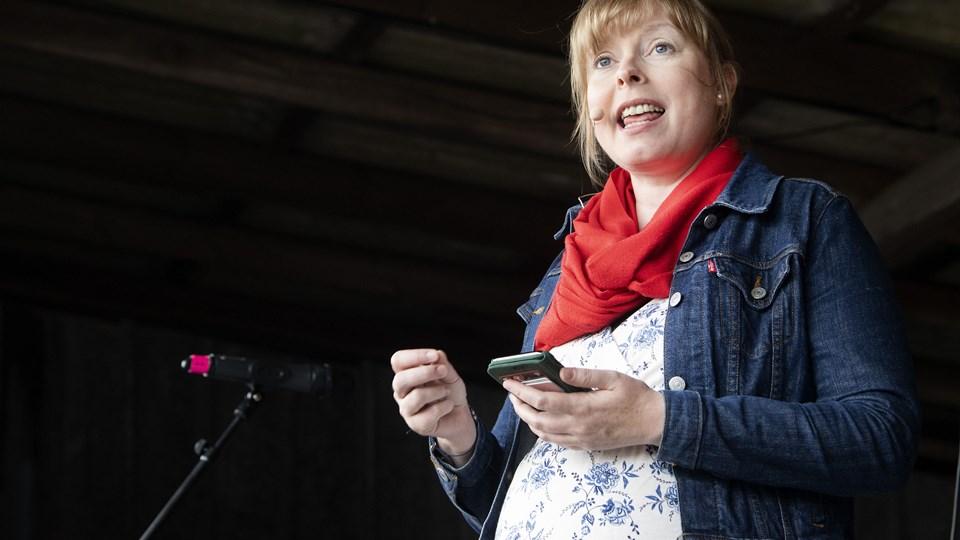 Kulturminister Joy Mogensen (S) ville i en tale ved Kulturmødet på Mors på ingen måde love, at omprioriteringsbidraget på kulturen bliver afskaffet. Foto: Peter Mørk