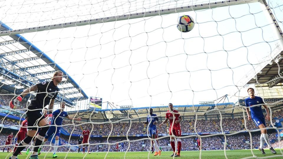 Olivier Giroud headede Chelsea til sejr over Liverpool. Foto: Scanpix/Glyn Kirk