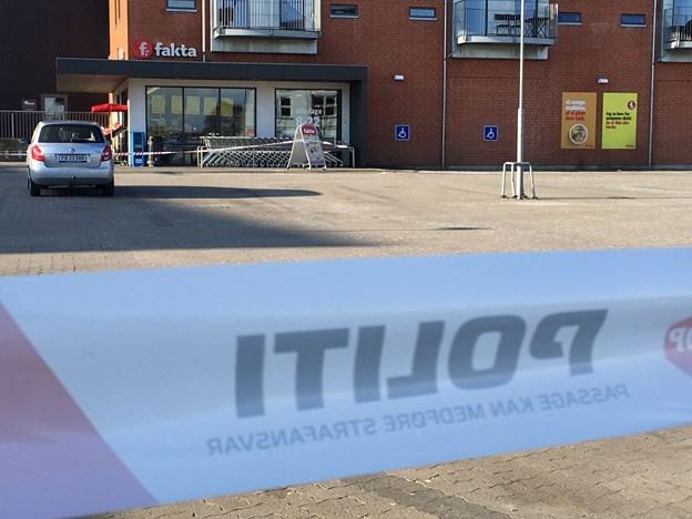 Der blev også gjort et forsøg på røveri i Fakta-butikken men uden held. Foto: Martin Damgård