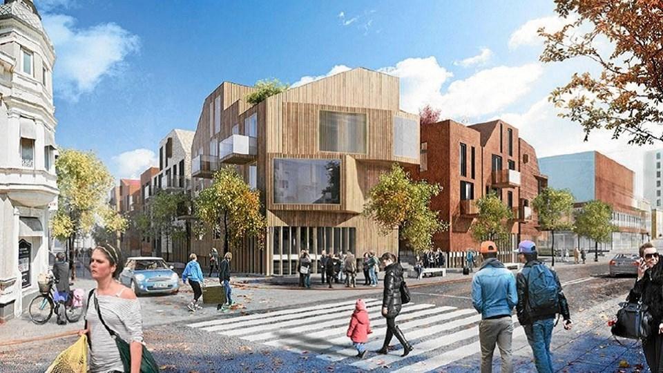 Byggeriet i bunden af Jernbanegade over stationen skulle indeholde blandt andet den nye musikskole. Vendsyssel Teater ses til højre i billedet. Illustration: Schmidt, Hammer, Lassen Architects