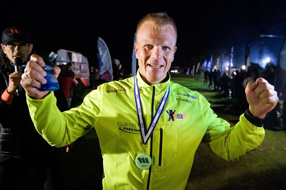 Martin Holbæk Thomsen fra Nørresundby vandt natten til søndag Mors 100 Miles 2018. Foto: Bo Lehm