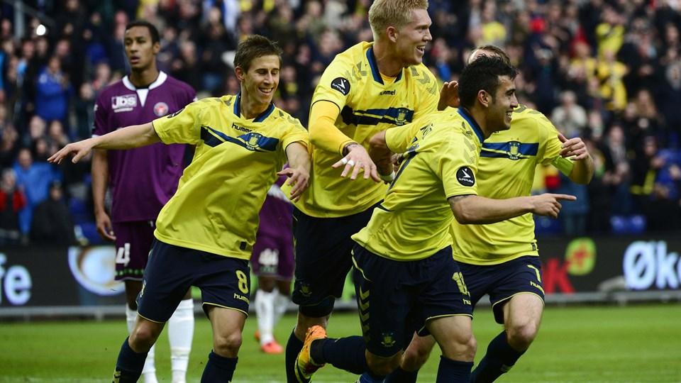 Brøndby kunne juble over tre scoringer mod FC Midtjylland. Foto: Scanpix