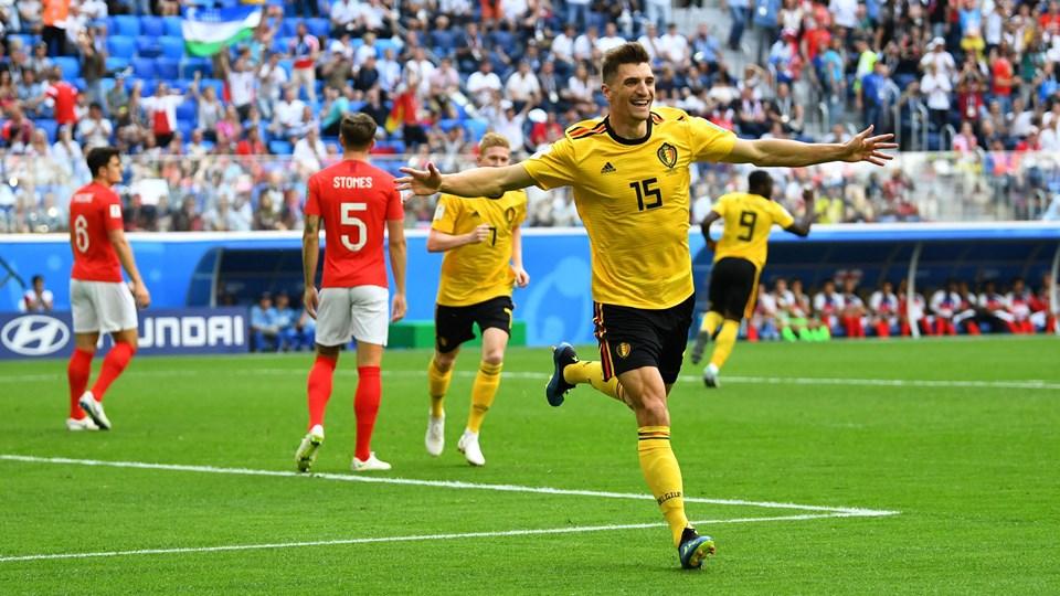 Thomas Meunier bragte efter blot fire minutter Belgien foran 1-0 mod England i kampen om tredjepladsen ved VM i fodbold. Foto: Dylan Martinez/Reuters