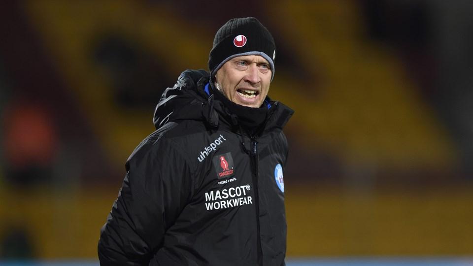 Silkeborgs træner Peter Sørensen er ikke tilfreds med et par kendelser i torsdagens nederlag i Farum. Foto: Scanpix/Tariq Mikkel Khan