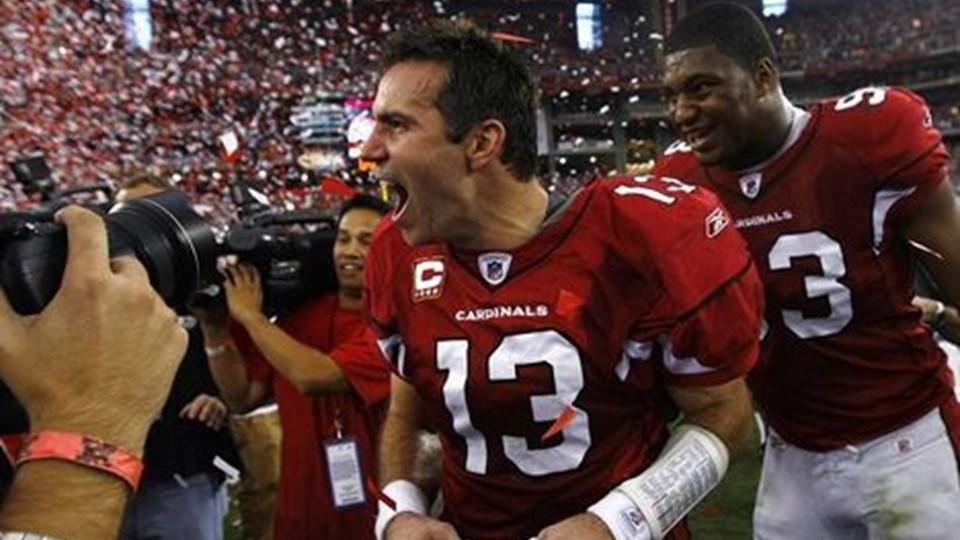 Kurt Warner jubler her efter sejren i NFC-finalen. Nu skal den 37-årige quarterback stå den største prøve. Foto: Scanpix