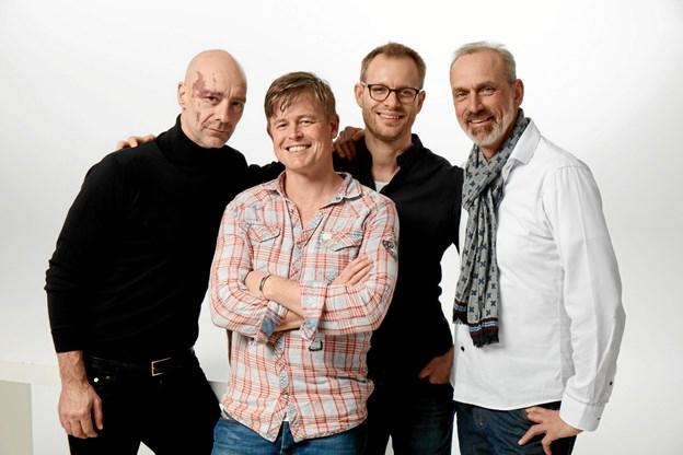 """Jimmy Jørgen, Caspar Philipson, Mathias Madsen Munch og Jan Michael Madsen, en stærk kvartet bag """"Historien om Købstaden""""."""