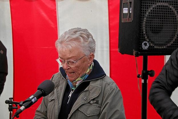 Her er det formanden for Oddesund nord borgerforening, Lone Børsting som har ordet. Foto: Hans B. Henriksen Hans B. Henriksen