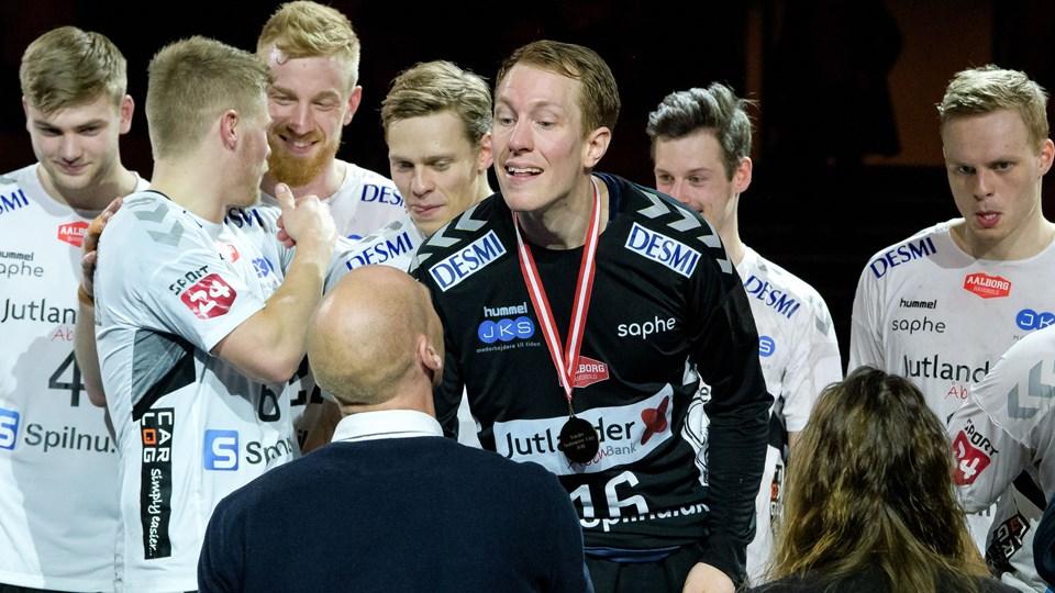 Mikael Aggefors erstattede i anden halvleg Kristian Säverås og blev helten for Aalborg Håndbold. Foto: Bo Lehm