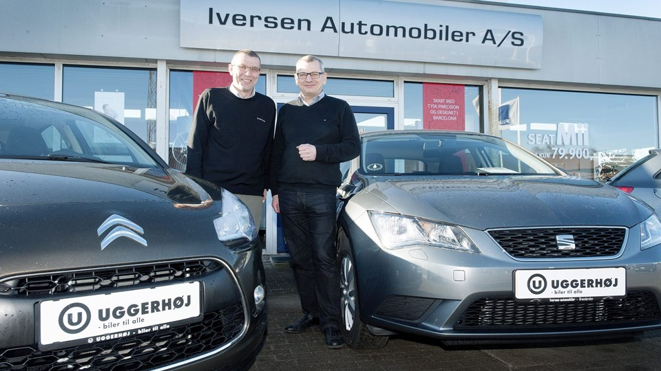 Erik Kollerup Larsen takkede i går af for at overlade rattet til direktør Troels Strøm fra Uggerhøj. Foto: Bente Poder