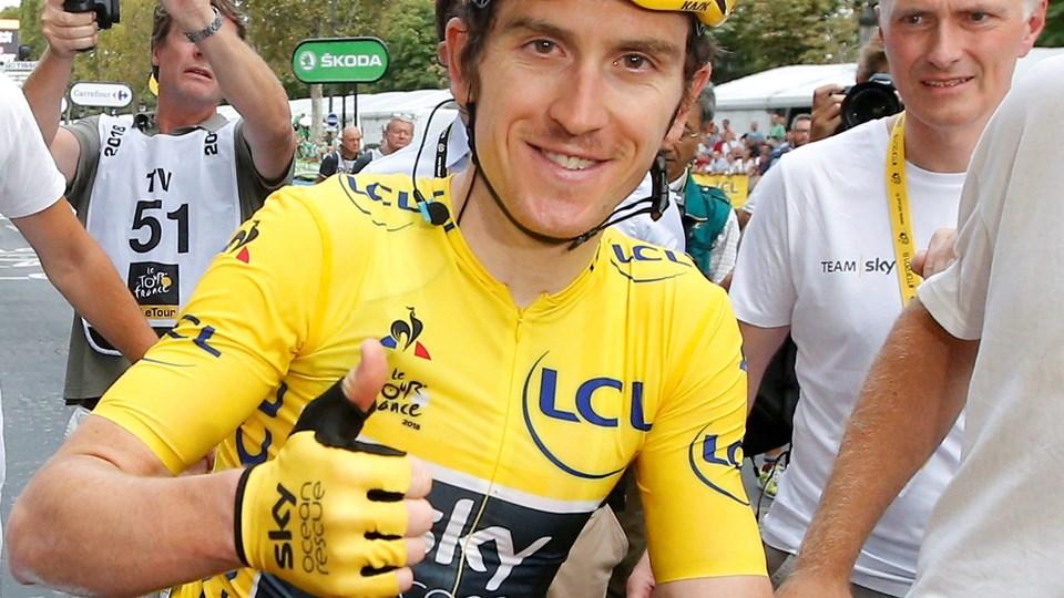 Geraint Thomas vandt Tour de France sammen med Team Sky. Nu er hans trofæ blevet stjålet. Foto: Stephane Mahe/Reuters