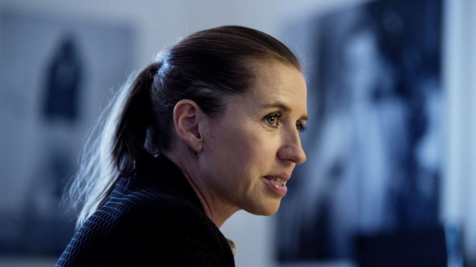Socialdemokratiets formand Mette Frederiksen holdt pressebriefing i forbindelse med regeringens ghettoudspil. Foto: Scanpix/Liselotte Sabroe