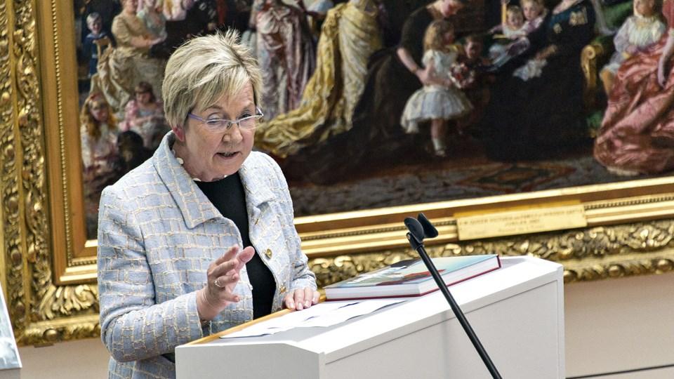 Kulturminister Marianne Jelved (RV), som er opstillet i Hjørringkredsen, besøger Tårs i anledning af byens jubilæum. Arkivfoto: Kim Dahl Hansen