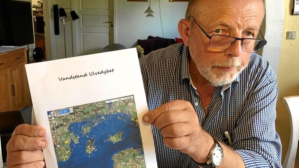 Sådan kan det komme til at se ud ifølge Holger Rendbæks skrækscenarie, hvis Gjøl-Øland Dæmningen bliver oversvømmet. På billedet er Øland og Gjøl er ikke længere landfaste.